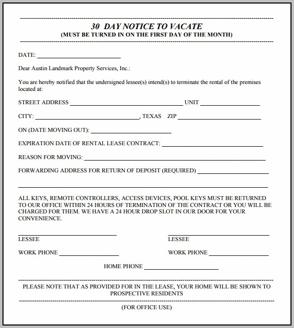 3 Day Eviction Notice Template Texas