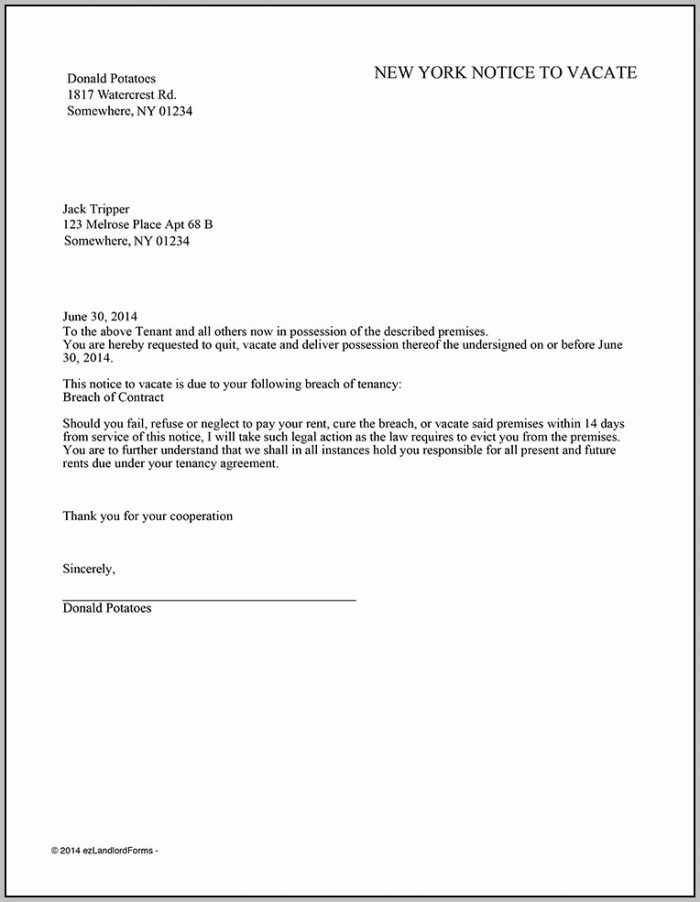 30 Day Eviction Notice Template New York