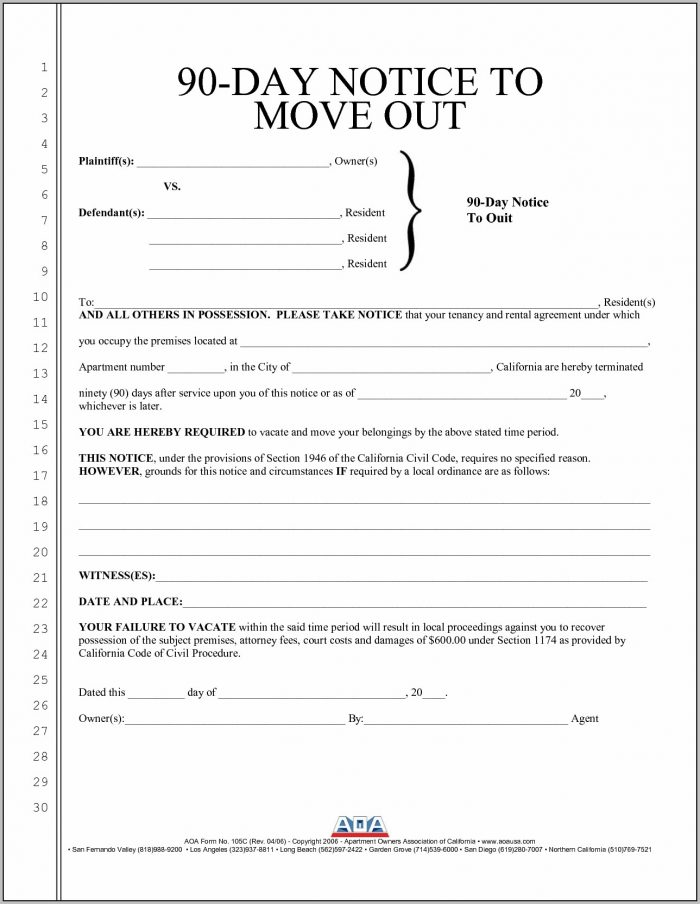 90 Day Eviction Notice Template