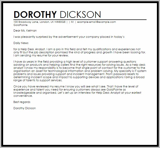 Cover Letter Sample For Help Desk Position