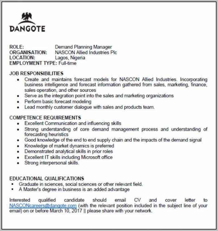 Demand Planning Manager Cover Letter