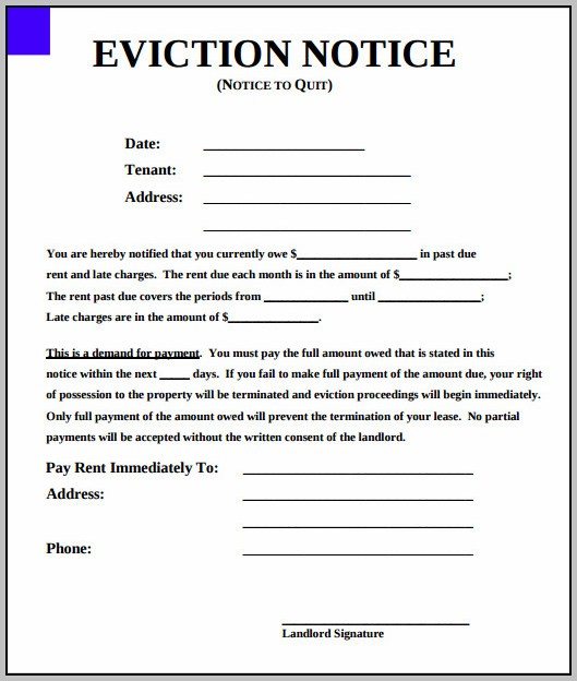 Eviction Notice Form South Carolina