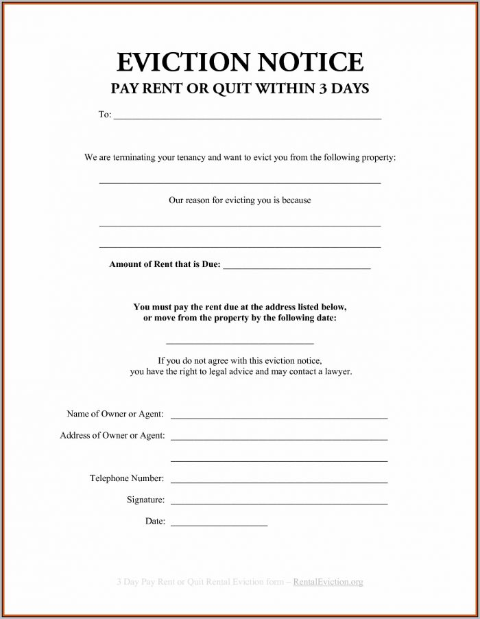 Eviction Notice Template For Sc