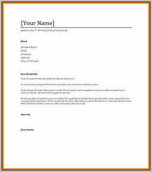 Free Cover Letter Template In Word
