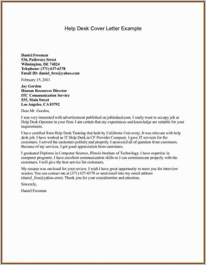 Help Desk Cover Letter No Experience