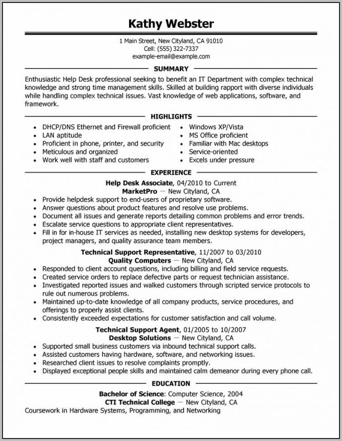 Help Desk Cover Letter With Experience