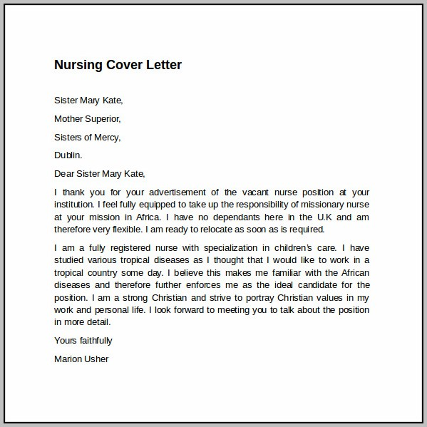 Nurse Cover Letter Templates For Free