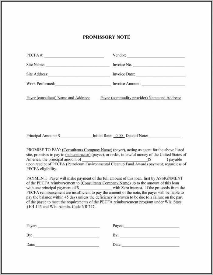Promissory Note Receipt Template