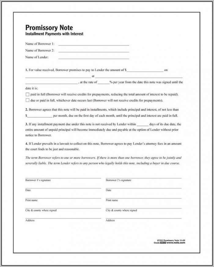 Promissory Note Registered Form