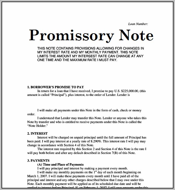 Promissory Note Sample Bank