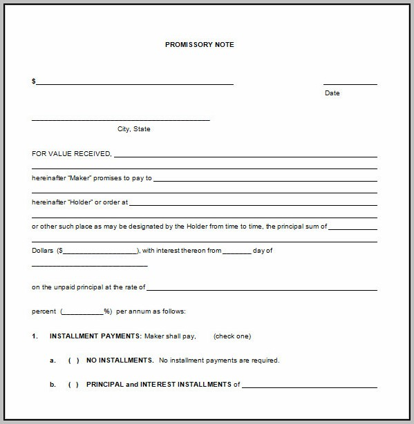 Promissory Note Template Ms Word