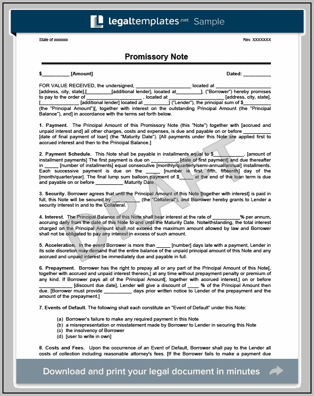Promissory Note Template Ny