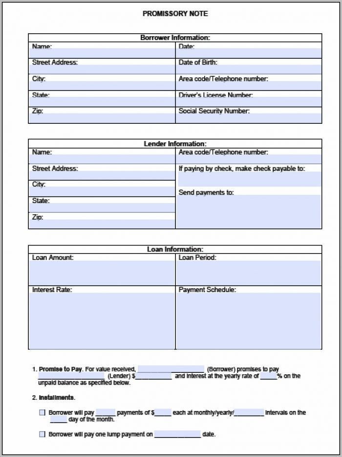 Promissory Note Template Nz