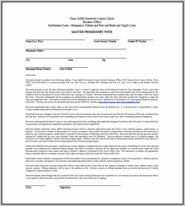 Promissory Note Template Tuition Fee