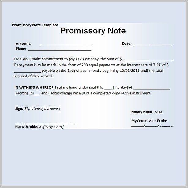 Promissory Note Template Wisconsin