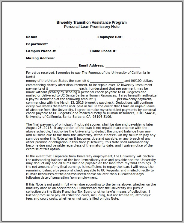 Promissory Note Template With Personal Guarantee