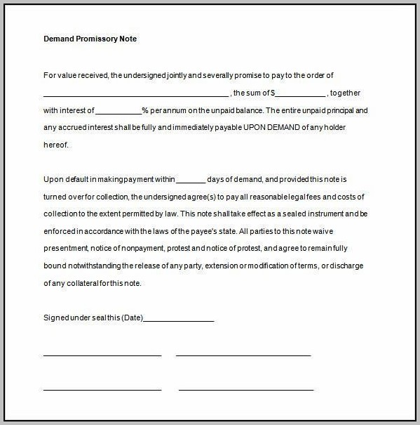 Promissory Note Us Sample