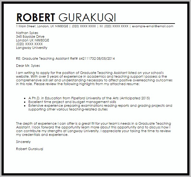 Sample Cover Letter For Assistant Teacher
