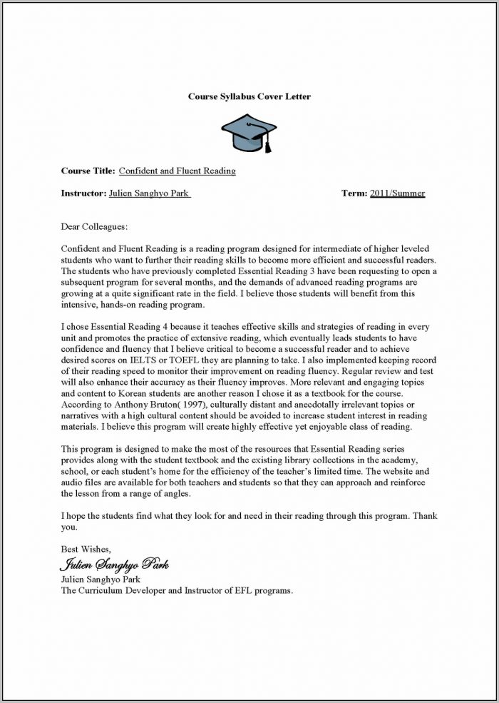 Sample Cover Letter For Esl Teacher