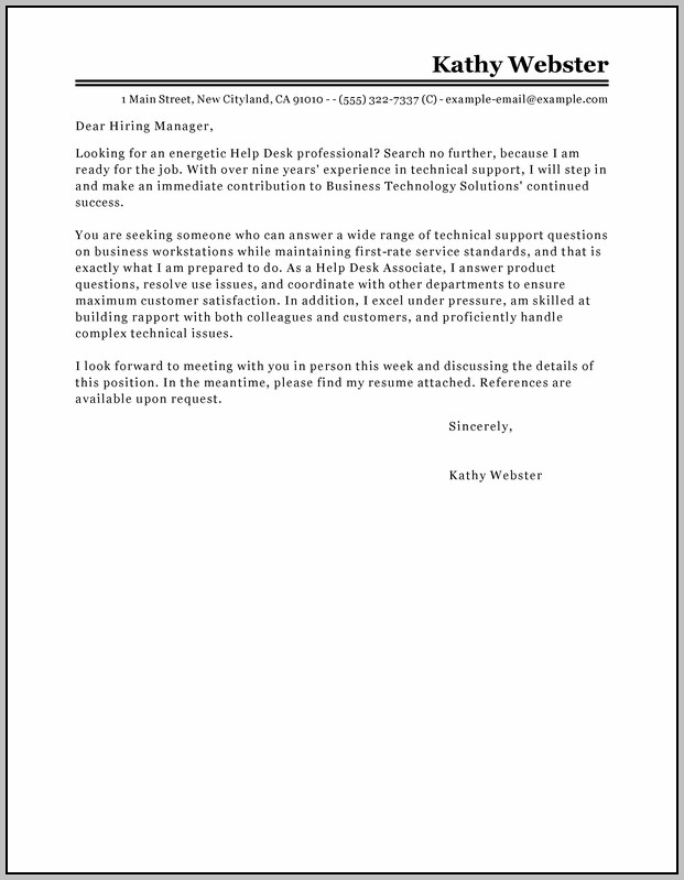 Sample Cover Letter For Help Desk Job