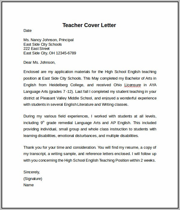 Sample Cover Letter For It Teacher
