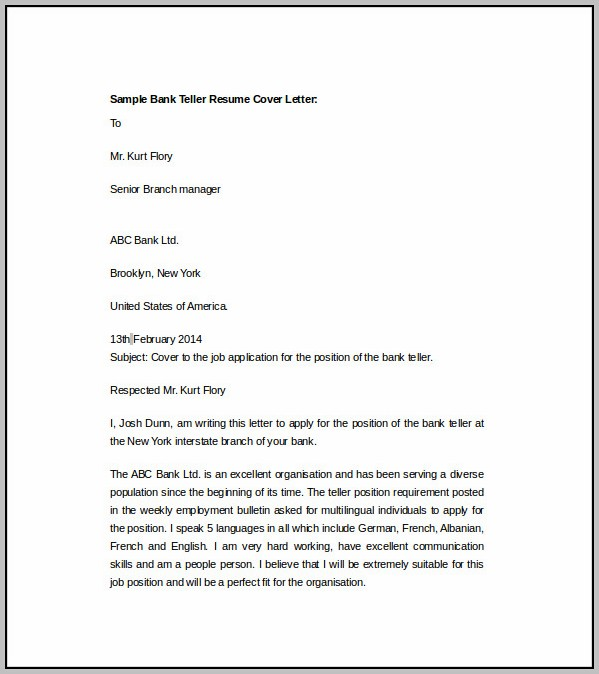 Sample Cover Letter For Resume Bank Teller