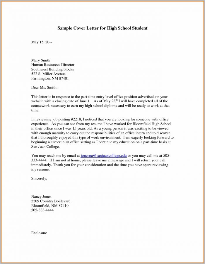 Sample Cover Letter For Resume High Schools Student
