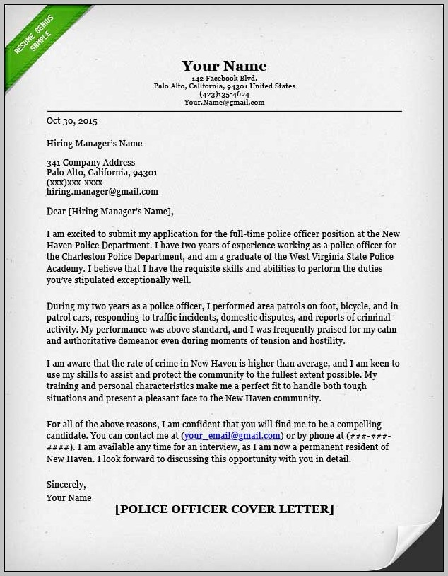 Sample Cover Letter For Resume Police Officer
