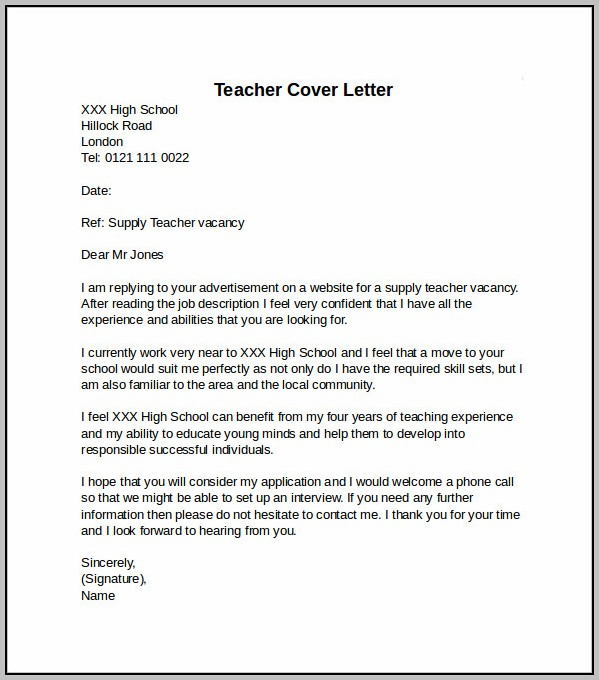 Sample Cover Letter For Teaching Job Pdf