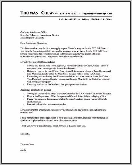 A Sample Resume And Cover Letter