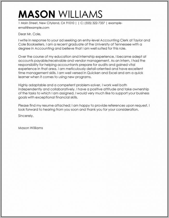 Accounts Payable Cover Letter For Resume