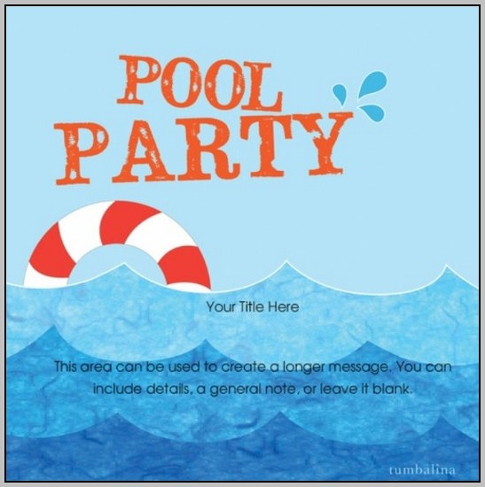 Birthday Invitation Templates Pool Party
