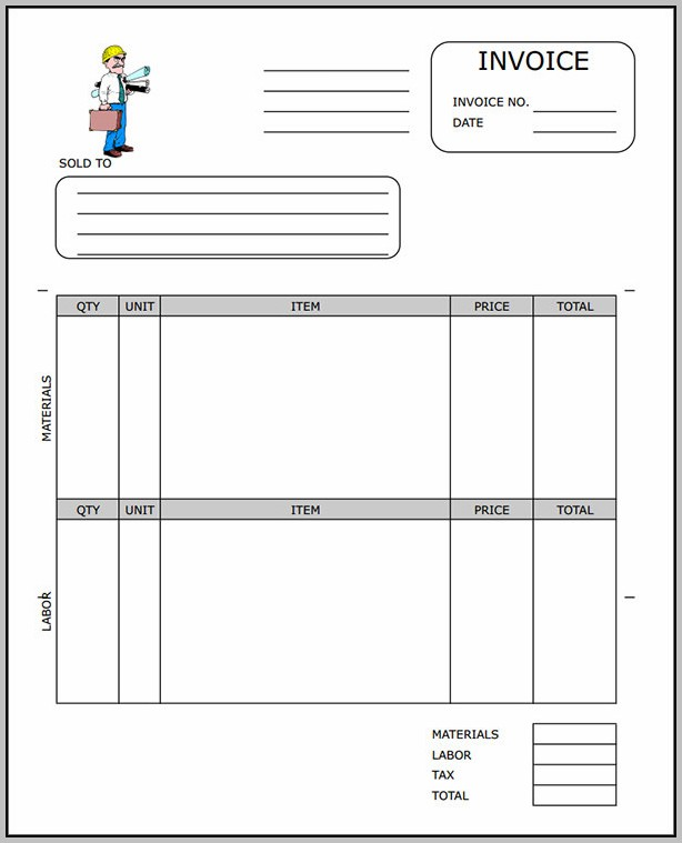 Blank Construction Invoice Template