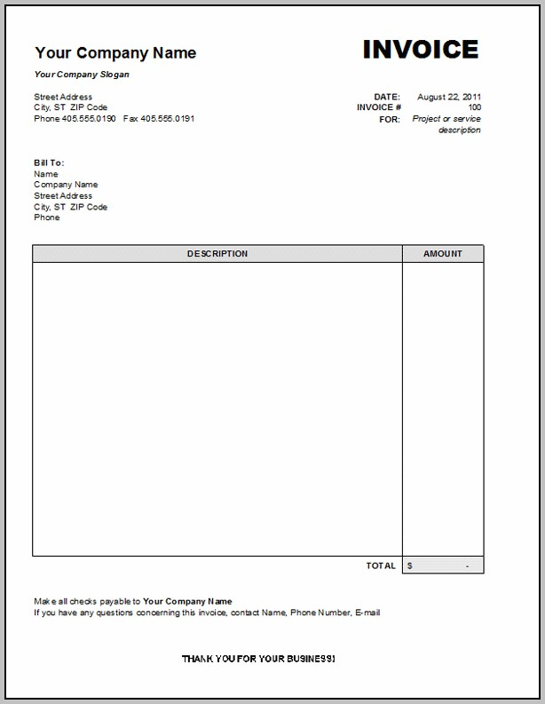 Blank Invoice Document Template