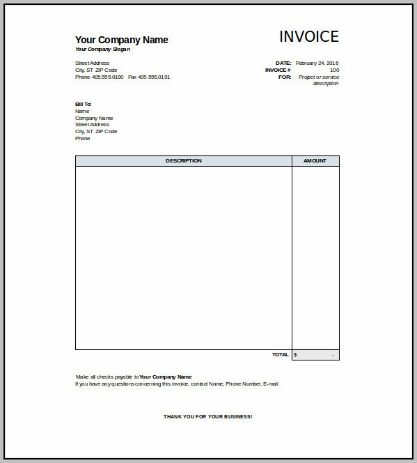 Blank Invoice Receipt Template