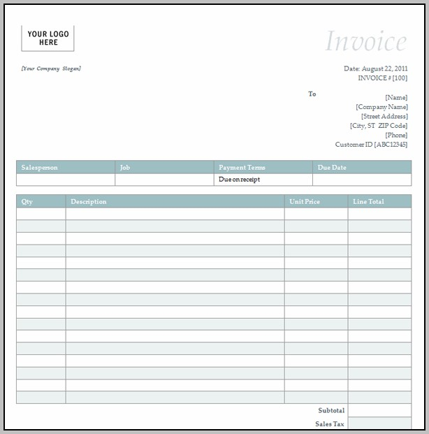 Blank Invoice Template For Excel