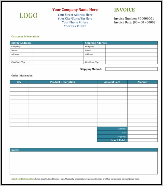 Blank Invoice Template For Microsoft Word