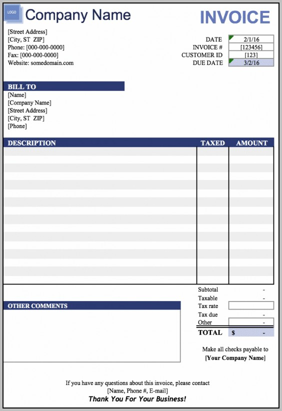Blank Invoice Template Xls