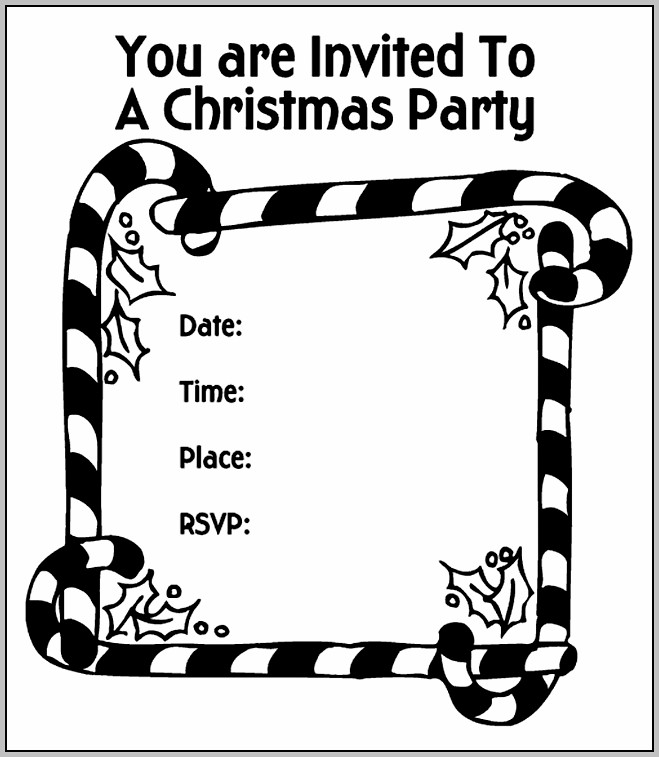 Christmas Party Invitation Template Black And White