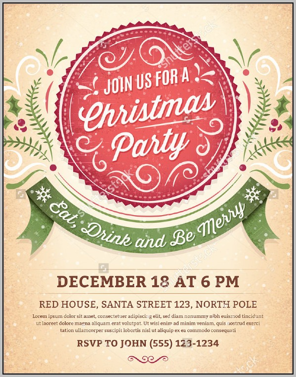 Christmas Party Invitations Templates In Word