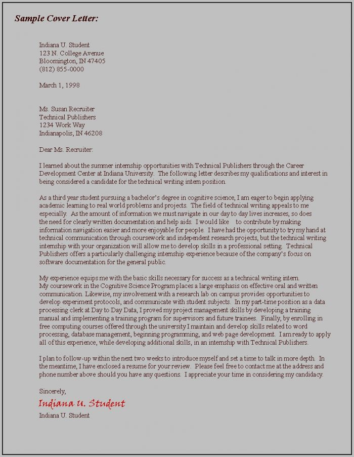 Cover Letter Examples Career Goals