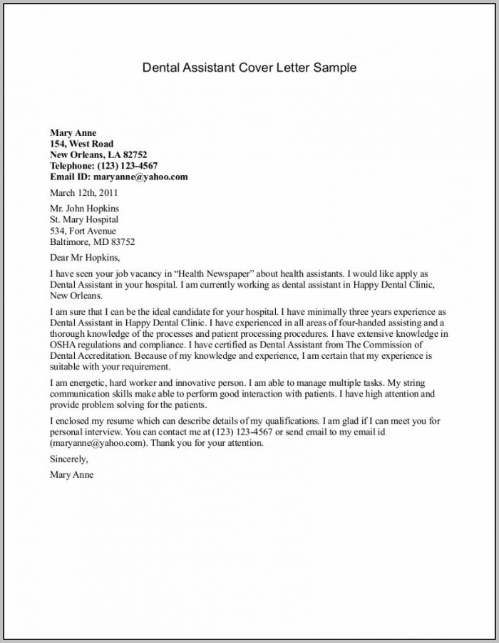 Cover Letter Examples For Resume Dental Assistant