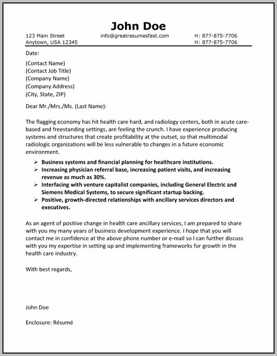 Cover Letter Examples For Resume Healthcare