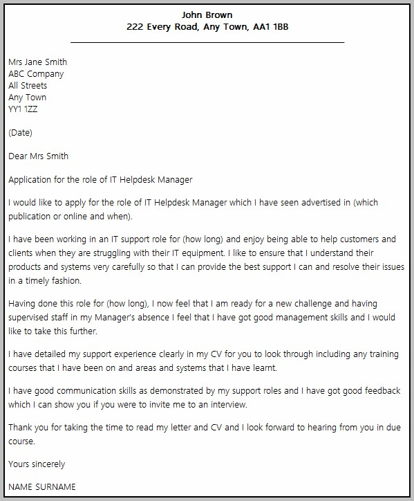 Cover Letter Examples Help Desk