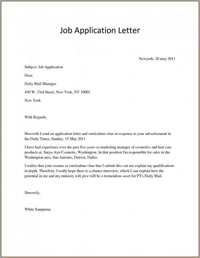 Cover Letter For Any Job Position Example