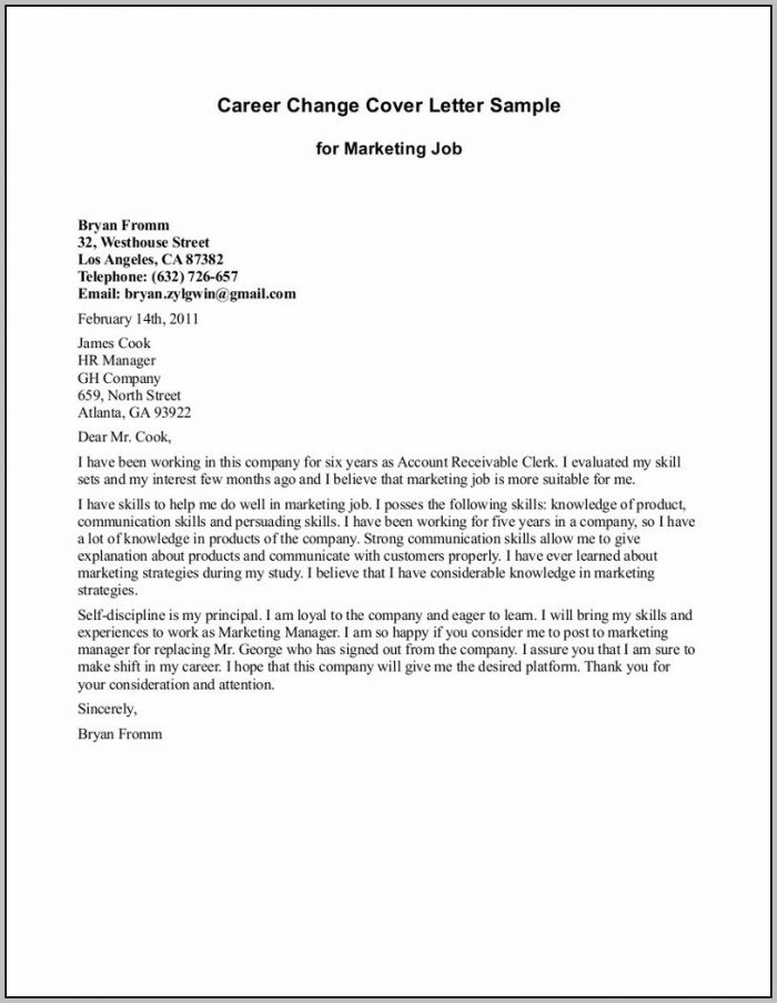 Cover Letter For Career Change Examples