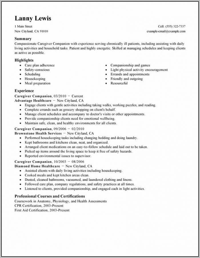 Cover Letter For In Home Caregiver