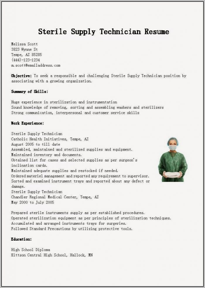 Cover Letter For Sterile Processing Technician