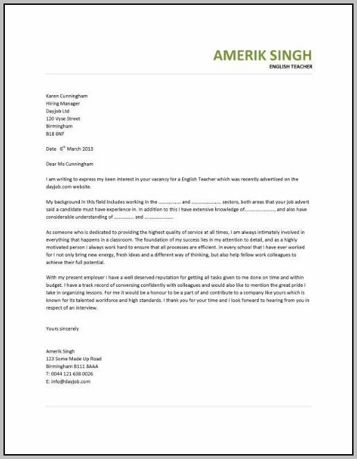 Cover Letter Help For English