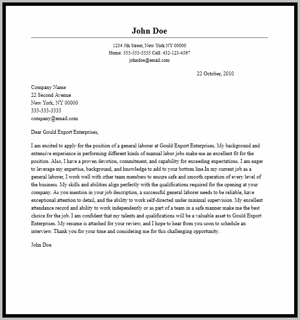 Cover Letter Resume Template Example